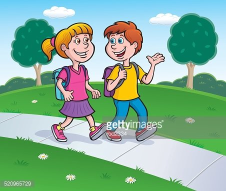 Boy and Girl Waling to School with Backpacks On