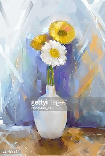 Gerbera Flowers Oil Painting With White Vase Clipart Image