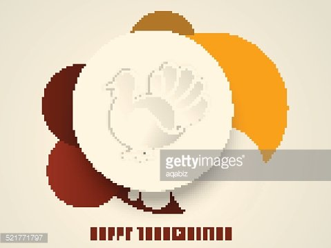Thanksgiving day sticker, tag and label with turkey bird.