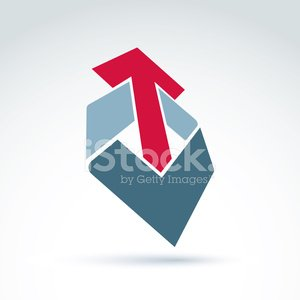 Geometric abstract 3D symbol with arrow, vector graphic design