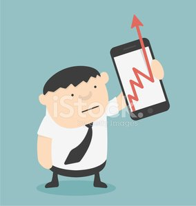 Businessman show Business Growth Chart With smartphones