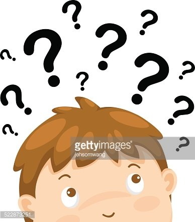 Boy Thinking With Question Marks Vector