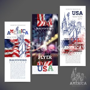 Banners geometric background flag of USA