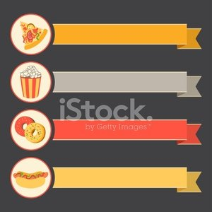 flat vector icon set fast food with vintage ribbons