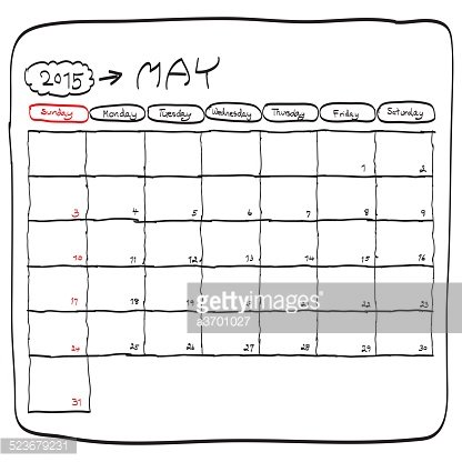 may 2015 planning calendar, doodles hand drawn