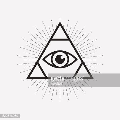 All Seeing Eye Symbol Triangle With Rays Premium Clipart