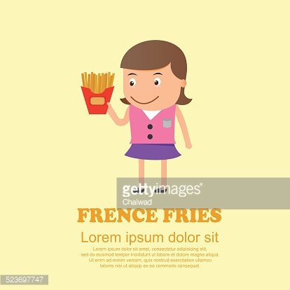 Cute cartoon set,girl and French fries