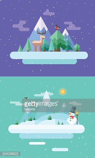 Christmas Illustrations Clip Art.Winter Nature Christmas Time Vector Flat Illustrations