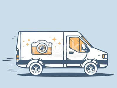 Vector illustration of van free and fast delivering photo camera