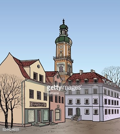 Downtown City Blocks with Office Buildings, Apartments and Large Clipart  Image