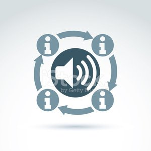 Information collecting and exchange theme icon, vector podcast