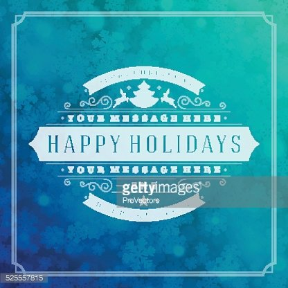 Christmas retro typography and light with snowflakes vector background