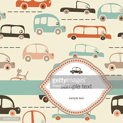 card with seamless cartoon map of cars and traffic