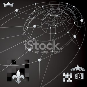 Distorted 3D abstract lines and dots background with web design