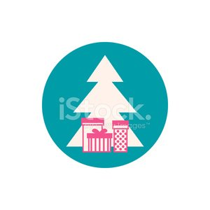Icon Christmas tree with gifts, vector illustration