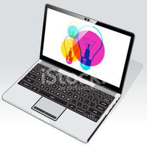 Online ideas access Laptop top right view