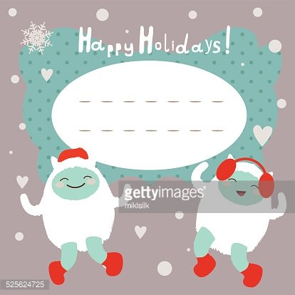 Winter Holiday Card With Dancing Yeti premium clipart - ClipartLogo com
