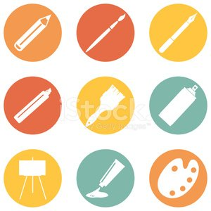 Vector Set of Art, Painting and Drawing Icons