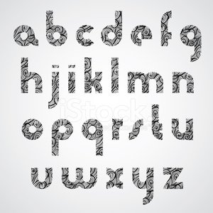 Digital style contemporary font with hand drawn curly lines