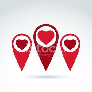 Vector map pointer with a loving heart icon. Place location