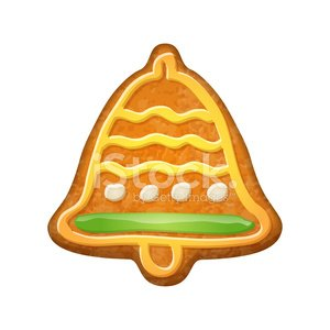 Decorated Bell Gingerbread Cookie Clipart Image