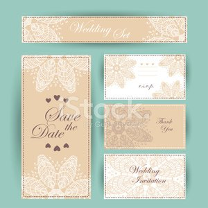 Wedding invitation, thank you card, save the date cards. RSVP