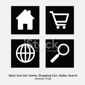 Basic Icon Set: Home, shopping Cart, Globe, Search