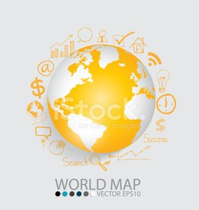 Modern globe with application icon. Vector illustration.