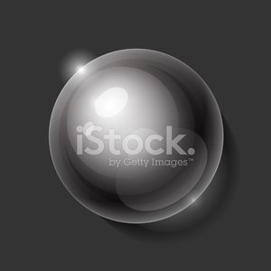 Realistic shiny transparent water drop sphere on blue background