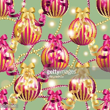 New Year pattern with ball. Christmas wallpaper Clipart