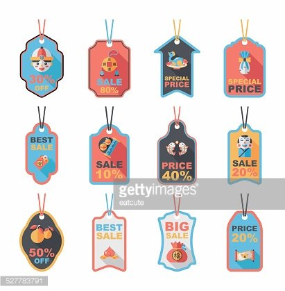 chinese new year tag flat banner background set eps10