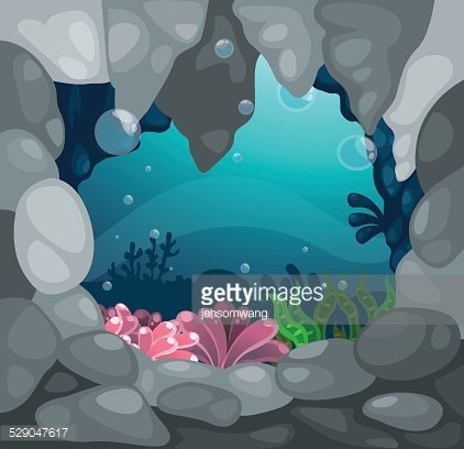 Cave Under The Sea Background Vector Clipart Image