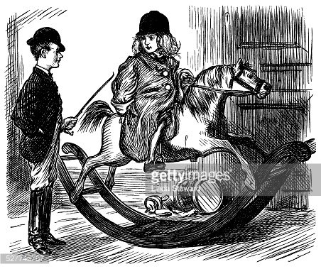 Victorian children with a rocking horse