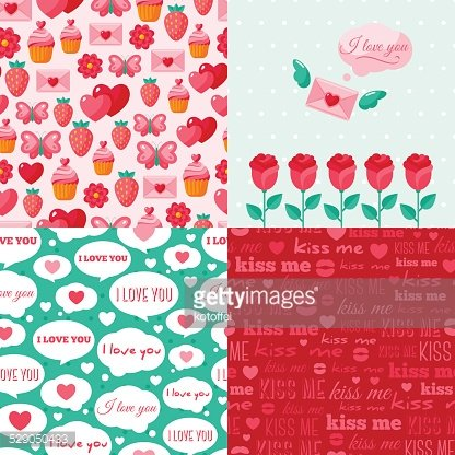 Seamless patterns of Valentine symbols and label I Love You.
