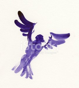 Painted purple watercolor bird