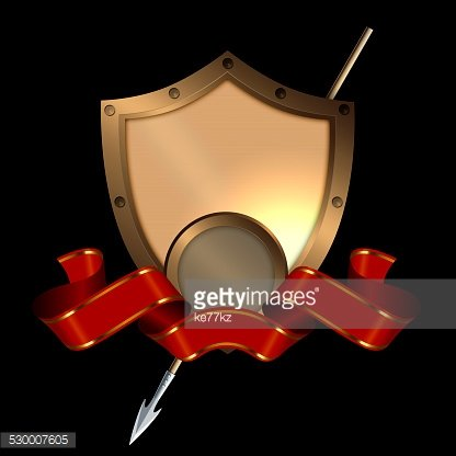 Medieval Shield With Spear and Red premium clipart - ClipartLogo com