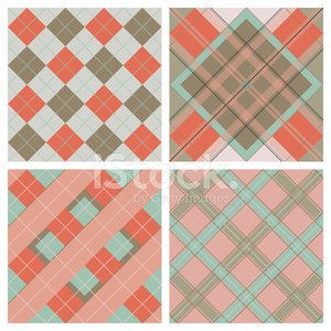 Set of Seamless Tartan & Checkered Plaid Patterns