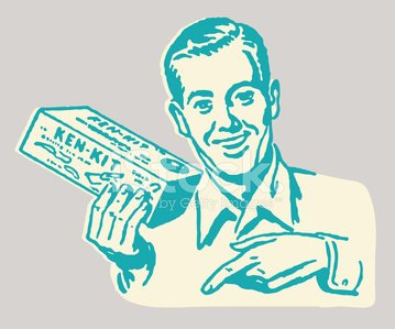 Man with Box Pointing Down
