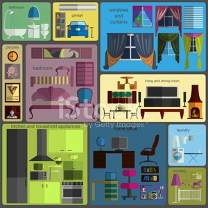 House remodeling infographic. Set flat interior elements