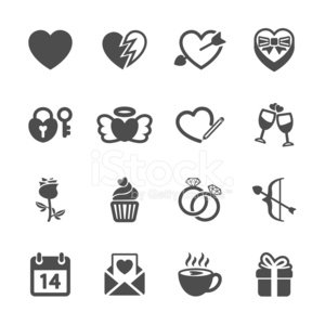 love and valentine icon set, vector eps10