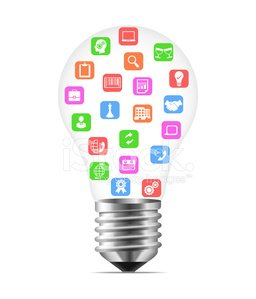 Bulb with business icons