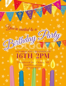 Birthday Party Invitation Template With Candles And Flags
