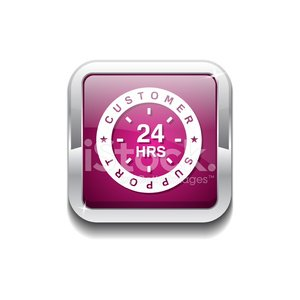 24 Hours Customer Support Pink Vector Icon Button