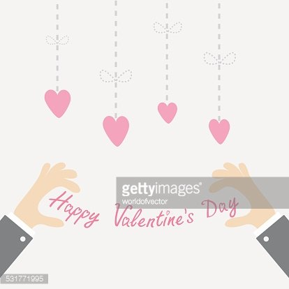 Businessman Happy Valentines day text Hanging dash line hearts Isolated