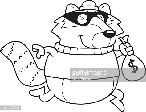 Cartoon Raccoon Burglar Premium Clipart