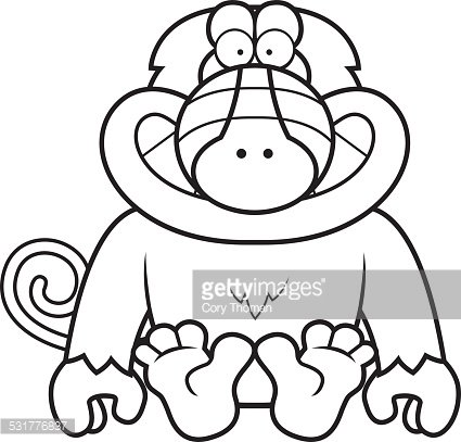 Cartoon Baboon Sitting Premium Clipart