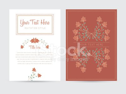 letter document and cover template with hand drawn floral decora