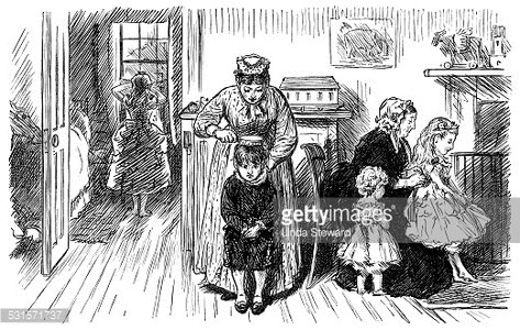 Reluctant Victorian children being dressed and brushed up