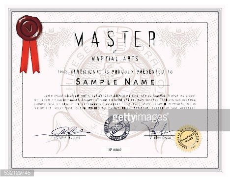 certificate template master of martial arts with chinese dragon