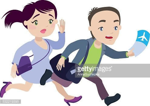 Man And Woman Are Running Late For The Plane Premium Clipart
